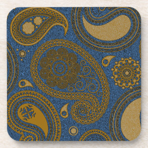 Earthy Beige Paisley pattern on blue fabric Coaster