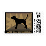 Earthy Black and Tan Coonhound Postage Stamps
