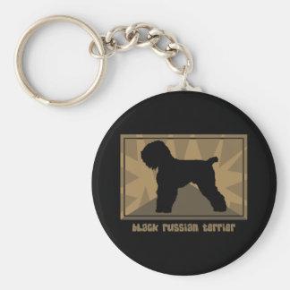 Earthy Black Russian Terrier Key Chain