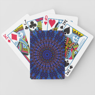 Earthy Blue Fractal Kaleidoscope Playing Cards