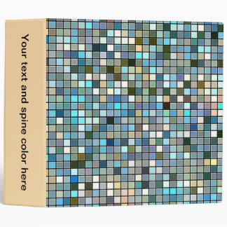 Earthy Blue Square Tiles Pattern Binder