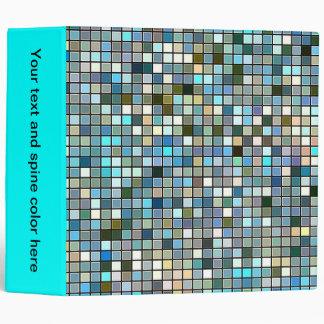 Earthy Blue Square Tiles Pattern Binders