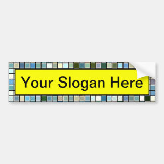 Earthy Blue Square Tiles Pattern Bumper Sticker