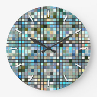 Earthy Blue Square Tiles Pattern Large Clock