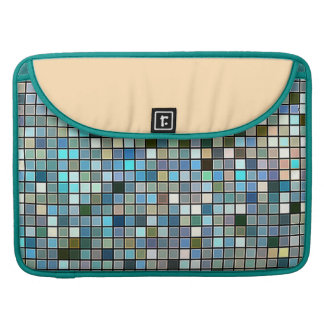 Earthy Blue Square Tiles Pattern Sleeve For MacBook Pro
