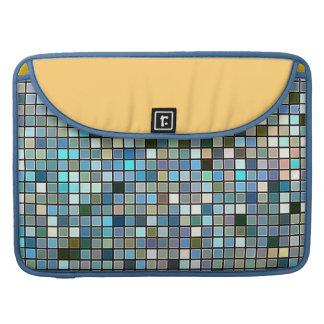 Earthy Blue Square Tiles Pattern MacBook Pro Sleeve