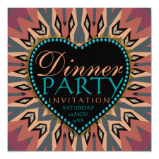 Earthy Bohemian LoveHeart Dinner Party Invitations