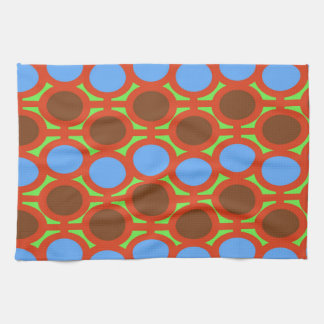 Earthy Brown and Blue Bubble Eyelets Kitchen Towel
