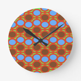 Earthy Brown and Blue Bubble Eyelets Round Clock