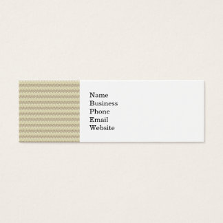 Earthy Brown and Linen Leaf Pattern Mini Business Card