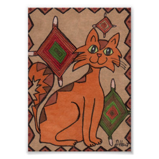 Earthy Brown Cat with God's Eyes Mini Folk Art Poster