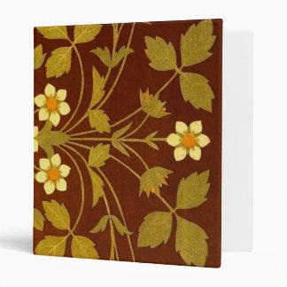 Earthy Brown Floral Textile 3 Ring Binder