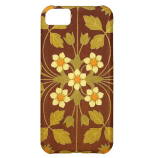 Earthy Brown Floral Textile iPhone 5C Covers