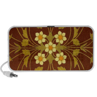 Earthy Brown Floral Textile Mini Speakers