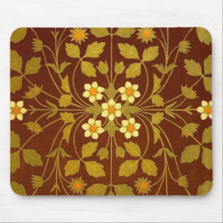 Earthy Brown Floral Textile Mouse Pad