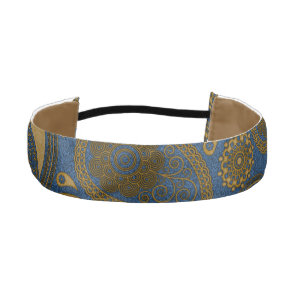 Earthy Brown Paisley pattern on blue fabric Athletic Headband