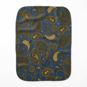 Earthy Brown Paisley pattern on blue fabric Baby Burp Cloth