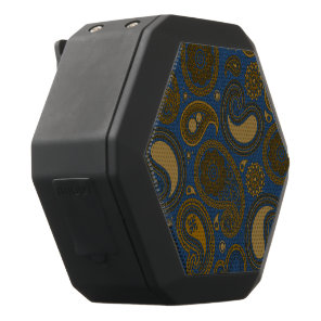 Earthy Brown Paisley pattern on blue fabric Black Bluetooth Speaker