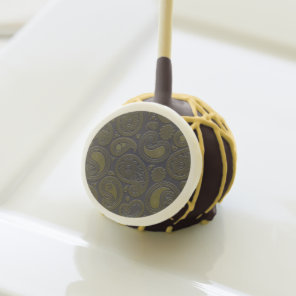 Earthy Brown Paisley pattern on blue fabric Cake Pops