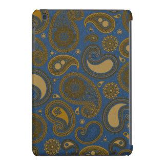 Earthy Brown Paisley pattern on blue fabric iPad Mini Covers