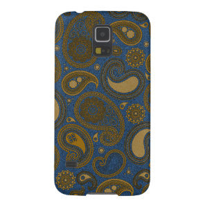 Earthy Brown Paisley pattern on blue fabric Case For Galaxy S5