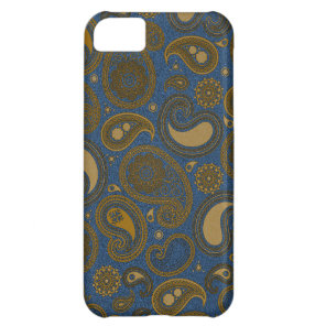 Earthy Brown Paisley pattern on blue fabric Case For iPhone 5C
