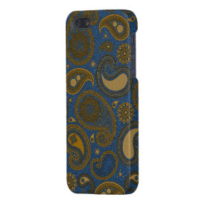 Earthy Brown Paisley pattern on blue fabric Case For iPhone SE/5/5s