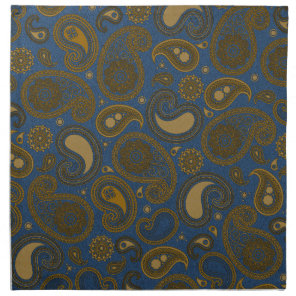 Earthy Brown Paisley pattern on blue fabric Cloth Napkin