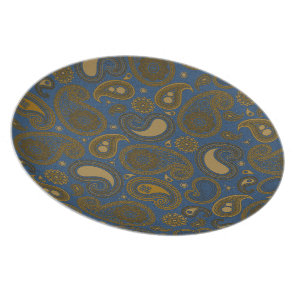 Earthy Brown Paisley pattern on blue fabric Dinner Plate