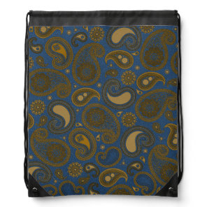 Earthy Brown Paisley pattern on blue fabric Drawstring Backpack