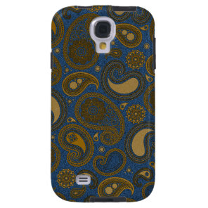 Earthy Brown Paisley pattern on blue fabric Galaxy S4 Case