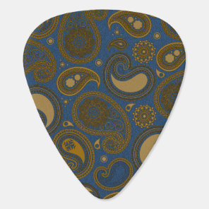 Earthy Brown Paisley pattern on blue fabric Guitar Pick