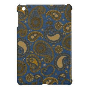 Earthy Brown Paisley pattern on blue fabric iPad Mini Case