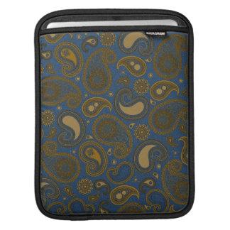 Earthy Brown Paisley pattern on blue fabric iPad Sleeve