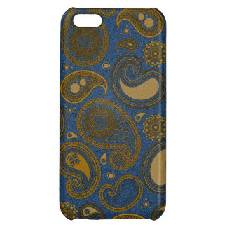 Earthy Brown Paisley pattern on blue fabric iPhone 5C Case