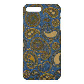 Earthy Brown Paisley pattern on blue fabric iPhone 8 Plus/7 Plus Case