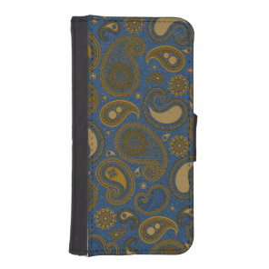 Earthy Brown Paisley pattern on blue fabric iPhone SE/5/5s Wallet