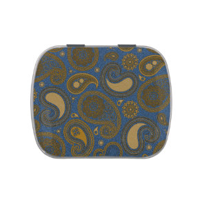 Earthy Brown Paisley pattern on blue fabric Jelly Belly Tin