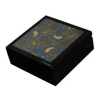 Earthy Brown Paisley pattern on blue fabric Jewelry Box
