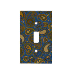 Earthy Brown Paisley pattern on blue fabric Light Switch Cover