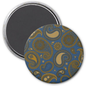 Earthy Brown Paisley pattern on blue fabric Magnet