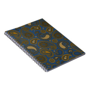 Earthy Brown Paisley pattern on blue fabric Notebook