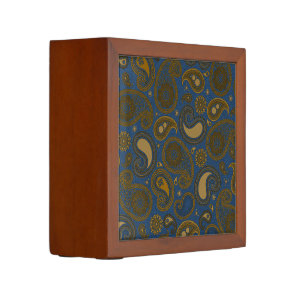 Earthy Brown Paisley pattern on blue fabric Pencil Holder