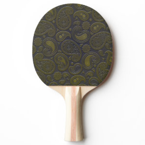 Earthy Brown Paisley pattern on blue fabric Ping-Pong Paddle