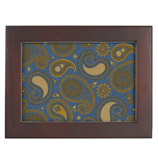 Earthy Brown Paisley pattern on blue fabric Memory Boxes