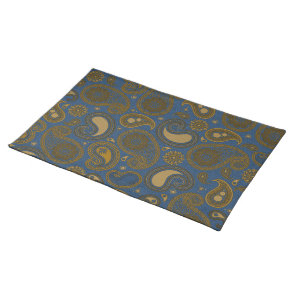 Earthy Brown Paisley pattern on blue fabric Placemat