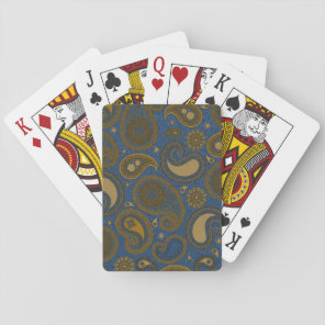 Earthy Brown Paisley pattern on blue fabric Playing Cards
