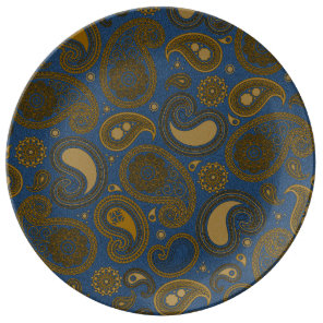 Earthy Brown Paisley pattern on blue fabric Porcelain Plate
