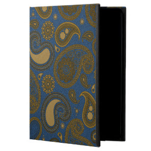Earthy Brown Paisley pattern on blue fabric Powis iPad Air 2 Case