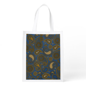 Earthy Brown Paisley pattern on blue fabric Reusable Grocery Bag